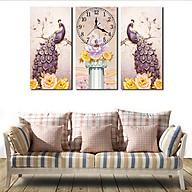 Tranh treo tường, tranh đồng hồ NT043 bộ 3 tấm ghép thumbnail