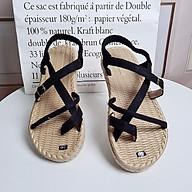 Giày sandal nữ quai chéo đế cói thật phong cách chiến binh đi chơi thumbnail