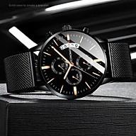 Đồng hồ nam ECONOMICXI dây thép mành đen chạy lịch ngày thiết kế cá tính ECO0129 thumbnail