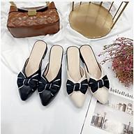 Giày sục nữ mũi nhọn đính nơ viền xinh xắn da mềm êm chân-SU12 thumbnail