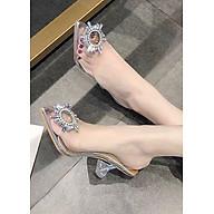 Giày cao gót hoa đá pha lê trong suốt - AT044 thumbnail