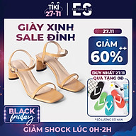 Gia y sandal cao go t Erosska thời trang mu i vuông phô i dây quai ma nh cao 5cm EB025 thumbnail