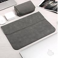 Bao da, túi da, cặp da chống sốc cho macbook, laptop chất da lộn kèm ví đựng phụ kiện - Xám - Macbook Pro 16 inch thumbnail