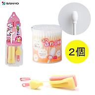 Combo hộp 110 chiếc tăm bông Sanyo kháng khuẩn an toàn cho bé + dụng cụ cọ rửa bình sữa - nội địa Nhật Bản thumbnail