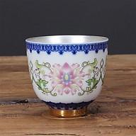 Chén Bạc uống trà Hoa Sen ngũ sắc màu trắng thumbnail