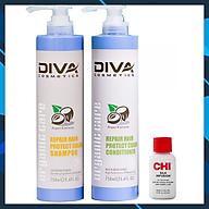 Bộ dầu gội xả Diva Repair Protect Color Organic Care dưỡng ẩm giữ màu tóc nhuộm 750mlx2 + Tinh dầu dưỡng tóc CHI Infusion 15ml thumbnail