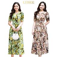 Đầm trung niên,váy dự tiệc thun lụa sữa LYBEE,thiết kế dáng xòe đủ size mã 603 thumbnail