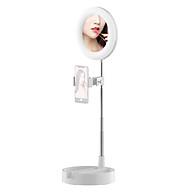 Portable LED Ring Light Foldable Desk Circle Lamp Fill Light with Makeup Mirror Phone Holder 3 Color Modes & 10 thumbnail