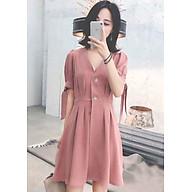 Đầm hồng xếp li tay nơ thumbnail