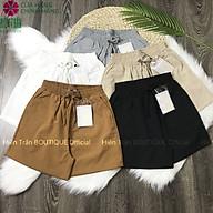 Quần short nữ Hiền Trần BOUTIQUE vải đũi ống rộng, mặc mát, thấm mồ hôi lưng chun co giãn tốt thumbnail