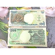 Tờ tiền con khỉ 500 Rupiah Indonesia 1992 tặng người tuổi Thân phong thủy, mới 100% UNC, tặng túi nilon bảo quản thumbnail