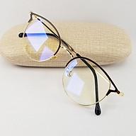 Gọng kính nữ mắt cận tròn màu bạc, đen, vàng chất liệu kim loại SA9209. Tròng kính giả cận 0 độ chống ánh sáng xanh, chống tia UV thumbnail