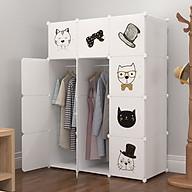 Tủ nhựa lắp ghép 12 ô quần áo kèm decal hoạt hình dễ thương thumbnail