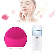 Combo Máy xông mặt, xịt khoáng nano mini cầm tay tiện lợi và Máy rửa mặt rung tạo bọt giúp sạch sâu thumbnail
