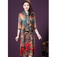 Đầm suông trung niên size lớn kiểu đầm suông dự tiệc in họa tiết đẹp phối khăn rời SC1521 thumbnail