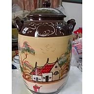 Hũ đựng rượu gạo gốm sứ Bát Tràng vẽ phong cảnh loại 20L thumbnail
