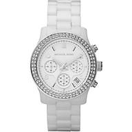 Women s White Ceramic Link Bracelet Quartz Chronograph Crystal MK5188 thumbnail