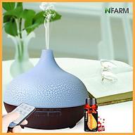 Combo máy khuếch tán, máy xông tinh dầu N Farm hình Giọt Nước + tinh dầu cam hương N Farm (10ml Có remote điều khiển. thumbnail