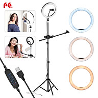FalconEyes 26cm 10inch LED Ring Light Kit with 1.6M Metal Light Stand Phone Holder Ballhead Adapter Microphone Boom Arm thumbnail