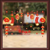 Decal dán kính trang trí chào Xuân Tân Sửu- Dây đèn lồng chào xuân- mã sp AMJ922 thumbnail