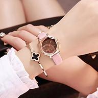 Đồng hồ dây da thời trang nữ Dd1 , mặt kính 3D viền kim loại chạy 3 kim cực đẹp thumbnail