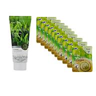 Combo Sữa rửa mặt chiết xuất từ trà xanh 3W CLINIC GREEN TEA CLEANSING FOAM và Bộ 10 gói mặt nạ chiết xuất ốc sên 3W Clinic Fresh Snail Mask Sheet thumbnail