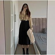 Chân váy xếp li kèm đai dáng dài vải cát hàn thumbnail