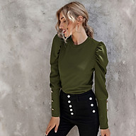 Women Puff Long Sleeve Shirt Button Round Neck Pullover Slim Fit Solid Tops thumbnail