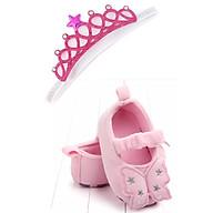 Combo giày tập đi cánh bướm chất vải nhung + băng đô công chúa cho bé gái từ 6-12 tháng tuổi thumbnail