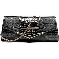 Túi clutch nữ cao cấp da thật ELLY EC38 màu đen thumbnail