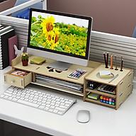 Kệ máy tính để bàn kệ đỡ màn hình vi tính giảm mỏi cho dân văn phòng kệ sách kệ hồ sơ để bàn kèm cắm viết bằng gỗ 2 màu nâu sáng tùy chọn - Tặng kèm 1 móc khóa khung hình thời trang thumbnail