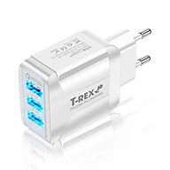 Củ Sạc Điện Thoại LED T-REX 3 Đầu USB, Sạc Nhanh QC3.0 Cánh Bướm (Hàng Chính Hãng) Dùng Cho Thiết Bị Iphone Samsung Android - DT067 thumbnail