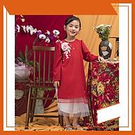 Set Áo dài cách tân bé gái màu đỏ đính hoa kèm váy thumbnail