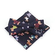 Bộ sản phẩm cà vạt , nơ bướm đeo cổ hoa văn chú chó 04 và khăn tay cho bé trai thumbnail