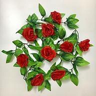 Chùm hoa hồng dây leo 9 bông dài 2m4 trang trí nội thất cao cấp - Dây hoa lá giả thumbnail