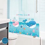 Decal dán tường trang trí lớp mầm non- chân tường đại dương cá heo- mã sp DQR9238 thumbnail