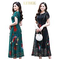 Váy trung niên cho mẹ thiết kế LYBEE,đầm dáng xòe dự tiệc chất voan tơ mã 594 thumbnail