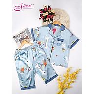Bộ đồ mặc nhà áo cộc quần lửng - chất lụa cao cấp hãng Sweeten your life thumbnail