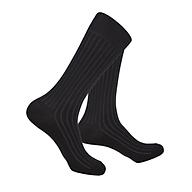 Tất vớ nam dài cao cấp cotton silk đơn sắc 2 tone màu đen thumbnail