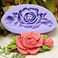 Khuôn rau câu silicon hoa hồng cành kèm nụ và lá thumbnail