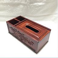 Hộp đựng giấy ăn 3 ngăn 2in1 chạm thành bằng gỗ hương cao cấp thumbnail
