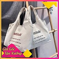 Túi tote trơn vải đeo chéo đi học vải canvas mềm mại thumbnail