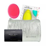 Bộ sản phẩm Giấy thấm dầu than hoạt tính tre Lixibox + Túi đựng mỹ phẩm Lixibox Fabulous + Miếng Silicone Rửa Mặt Lixibox + Set 2 miếng mút tán kem nền the Duo Rain drop thumbnail