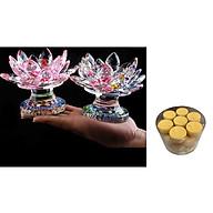 Cặp chân đế đặt nến thờ ngũ sắc cao cấp - đồ thờ AN13100 - kèm hộp nến bơ thực vật 28 viên thumbnail