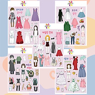 Búp bê giấy thay đồ thời trang đồ chơi cắt thủ công cho bé Combo 5 hình siêu đáng yêu 005 thumbnail