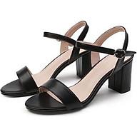 Giày Sandal Nữ Đẹp Da Lì Hở Mũi Quai Hậu Đế Vuông 7P Bản Ngang Công Sở Phong Cách Hàn Quốc. thumbnail
