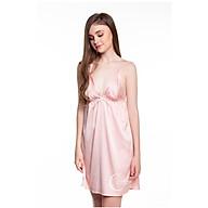 Dreamy-VX05-Váy ngủ lụa cao cấp, váy ngủ nữ, váy ngủ 2 dây, váy ngủ gợi cảm, váy ngủ sexy, đầm ngủ lụa mặc nhà tơn 2 dây cổ chữ V màu Hồng pastel thumbnail