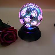 Quả cầu led xoay trang trí hoa hồng trái tim thumbnail