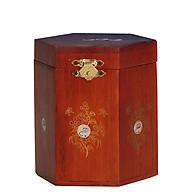 Hộp đựng chè gỗ hương khảm trai hình đa giác thumbnail