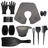 Bộ dụng cụ màu đen gồm 17 món dùng trong nhuộm tóc, chất liệu nhựa và cao su thumbnail